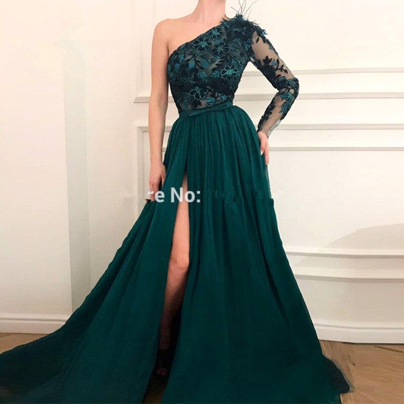 Green Muslim Evening Dresses 2019 A line One shoulder Chiffon Lace Slit Islamic Dubai Kaftan Saudi