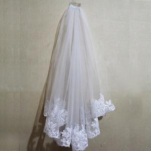 Image 4 - Voile de mariage court, bord en dentelle, une couche, avec peigne, élégant, accessoire de mariée blanc ivoire, nouveau