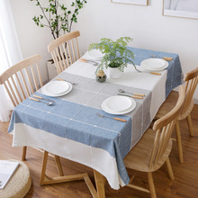 Simanfei Table Cloth Nordic Modern Concise Cotton Linen Living Room Dining Table Cover Lattice Plaid Rectangle Tablecloths цена
