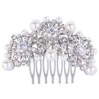 BELLA Fashion New Design Daisy Flowers Bridal Hair Comb Pin With Simulated Ivory Pearl Austrian Crystal