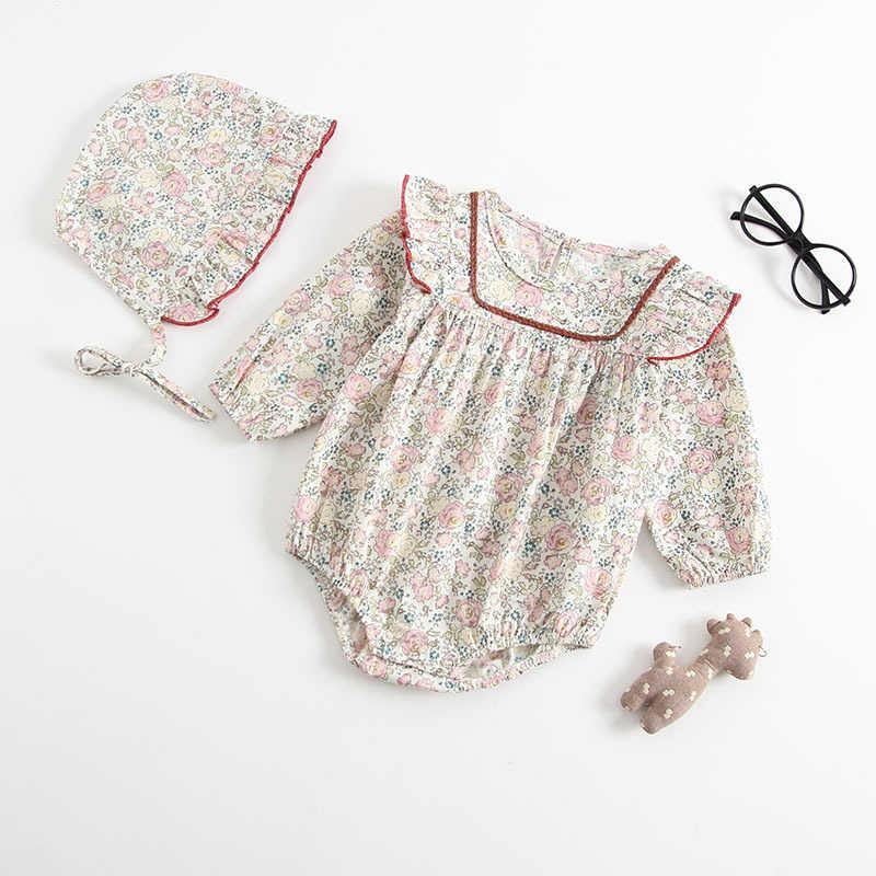 Baby Girls Rompers Newborn Baby Girls Long Sleeve Romper Hat Jumpsuit 2019 Spring Children Kids Outfit Clothes 2pcs Baby Romper