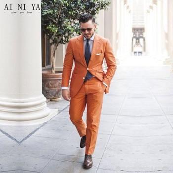 Fashion Men's Set New Orange Men's Set Groomsmen Wedding Groomsmen Dresses Business Casual Suits Custom Tops & Pants