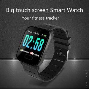 Image 5 - Pulsera inteligente Bluetooth pantalla táctil de Color grande reloj inteligente Correa extraíble de presión arterial para regalos iOS Android