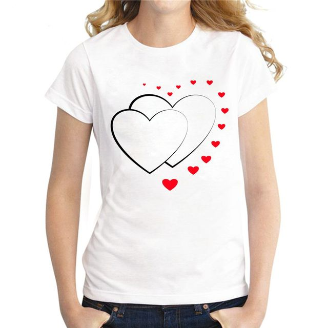 Fashion O-Neck Two Hearts Printed Women's T-Shirt