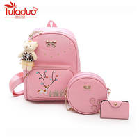 Fashion Composite Bag Preppy Style Backpacks For Teenage Girls High Quality Pu Leather School Bags Cute