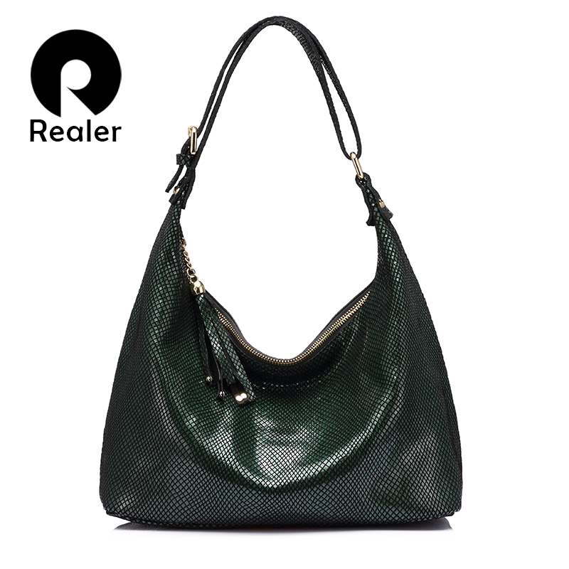 Realer Hobos Women Handbag Genuine Leather Shoulder Bag Female Tassel Ladies Bag High Quality Serpentine Print Leather Tote Bag