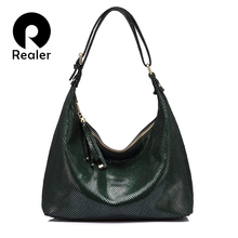 Realer hobos women handbag genuine leather shoulder bag fema