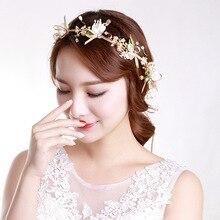 Women Rose Gold Flower Headbands Bridal Pearl Tiaras Hair bands Handmade Crystal Ladies wedding hair accessories