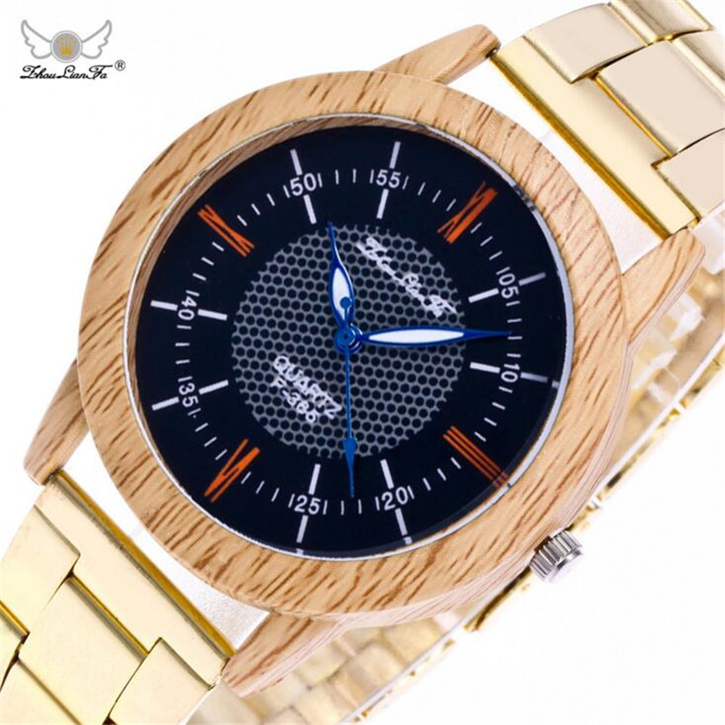 Creative False Wood Dial Luminous Pointer Digital Gold Stainless Steel Strap Men Quartz Watch Mens Watches Top Brand Luxury B453