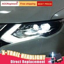 2Pcs LED Headlights For Nissan X Trail 2017 2019 led car lights Angel eyes xenon HID KIT Fog lights LED Daytime Running Lights