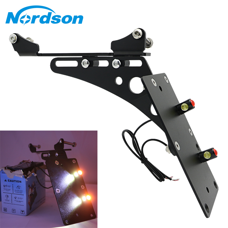 Nordson Motorcycle Tail Light Side Mount License Plate Bracket LED Light For Harley Davidson Sportster Iron 883 XL883 XL1200 72