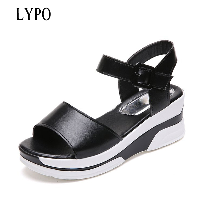 LYPO 2018 summer shoes wedges platform sandals Women Soft Leather Casual Open Toe Gladiator wedges Women Shoes zapatos mujer 32 43 big size summer woman platform sandals fashion women soft leather casual silver gold gladiator wedges women shoes h19