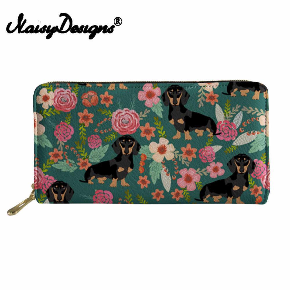 Noisydesigns Doxie perro Dachshund 3D Impresión de cartera de viaje de cuero para mujer bolso de la Bolsa de la cartera de la señora cartera del embrague femenino de gran capacidad