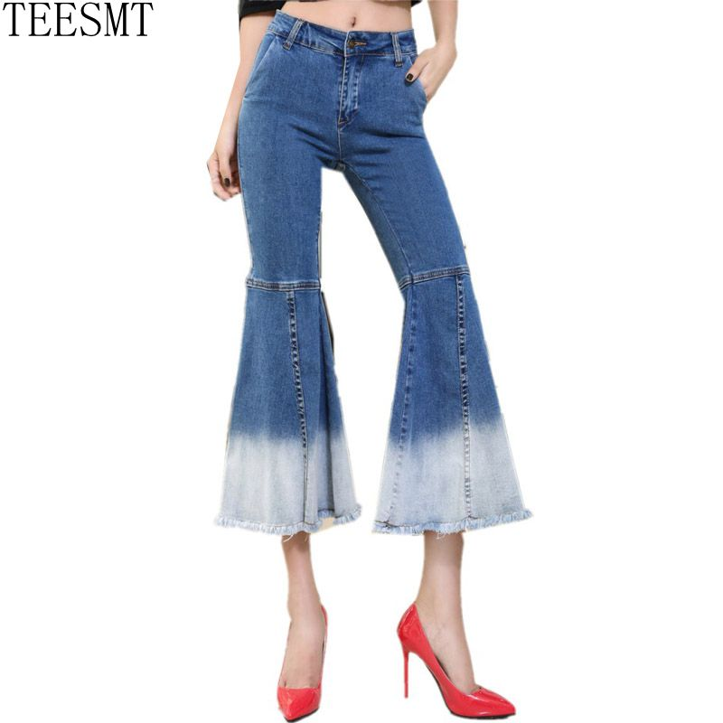 Women Fishtail Flare Pants Skinny High Waist Denim Flare Pants Botton Pockets Washed New All Match Jeans Female Cloth