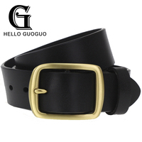 COWATHER Vintage Style Pin Buckle Cow Genuine Leather Belts For Men 130cm High Quality Mens Belt