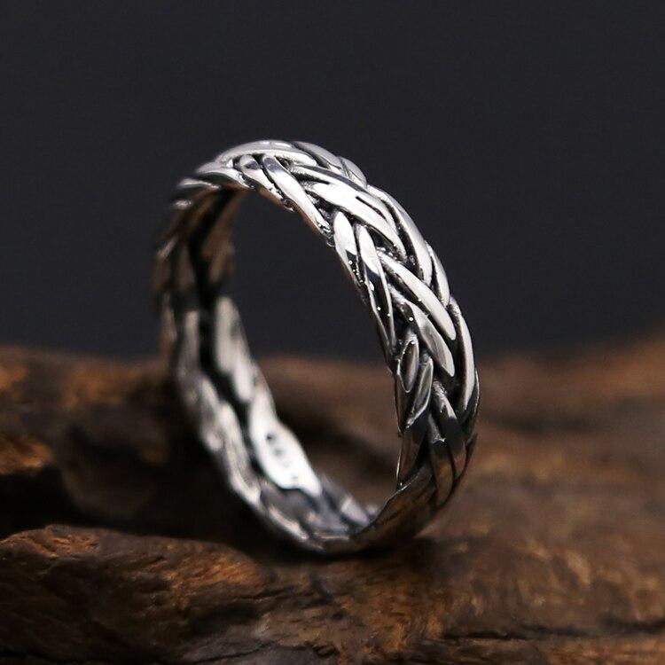 Твердые 925 стерлингового серебра Плетеный Ткань простой группа кольца Для мужчин Для женщин Винтаж тайский серебро 925 Jewelry Кольцо подарки
