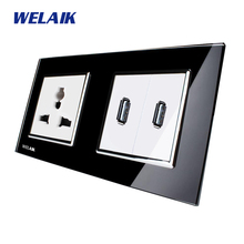 WELAIK  Glass Panel Wall Europe USB Socket Wall Outlet White Black Europe standard power outlet AC110~250V A28MU82USB