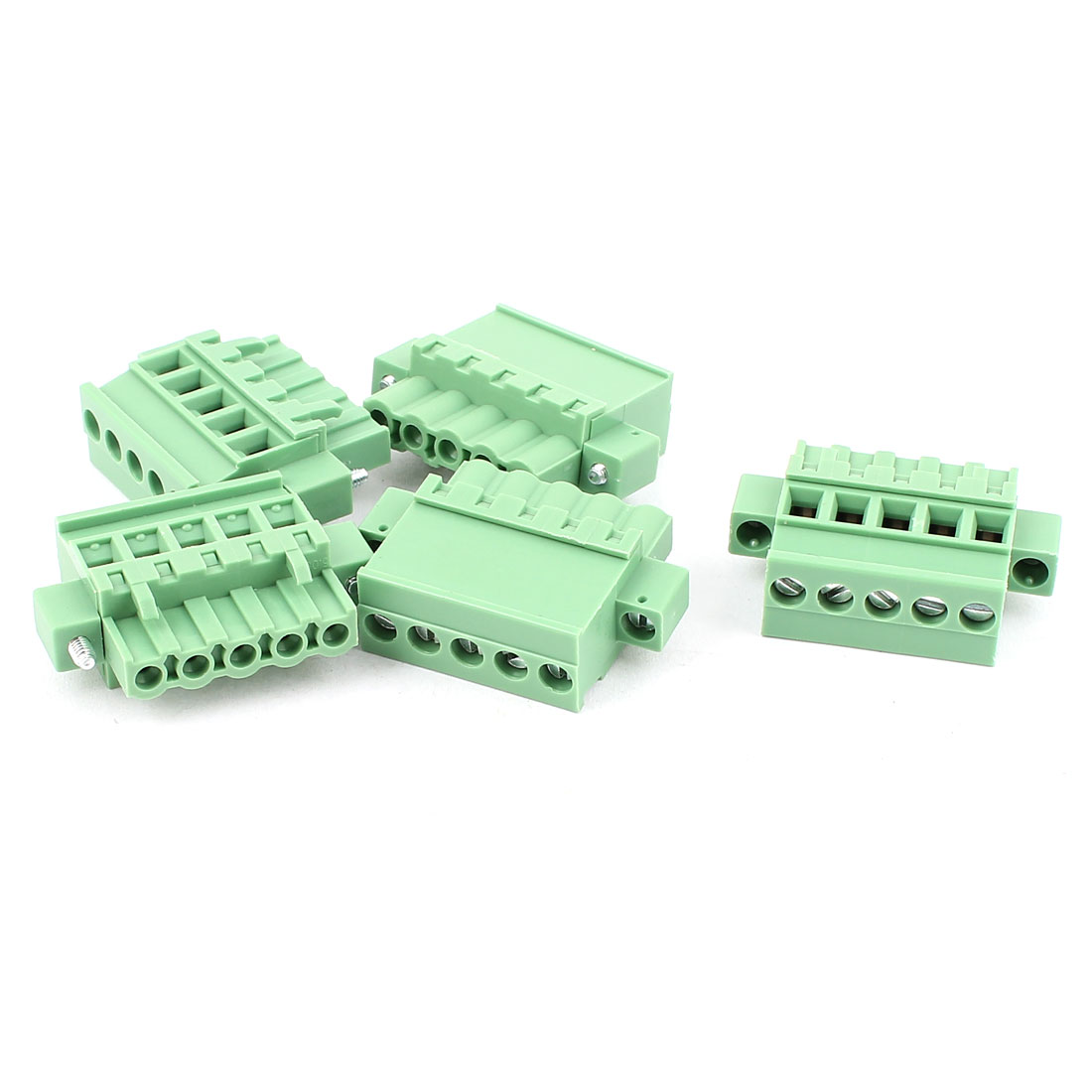 UXCELL 5 Pcs 5.08Mm Pitch 5 Pin Pcb Pluggable Terminal Blocks Connectors Green