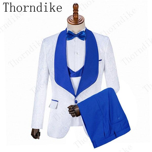 Witte Jas + Vest + Blauwe Broek Mannen Wedding Suits Formele Bruidegom Tuxedo Fit Heren Party Slim Fit Jongens Pak jonge Mannen Past Modieuze-in Pakken van Mannenkleding op  Groep 1