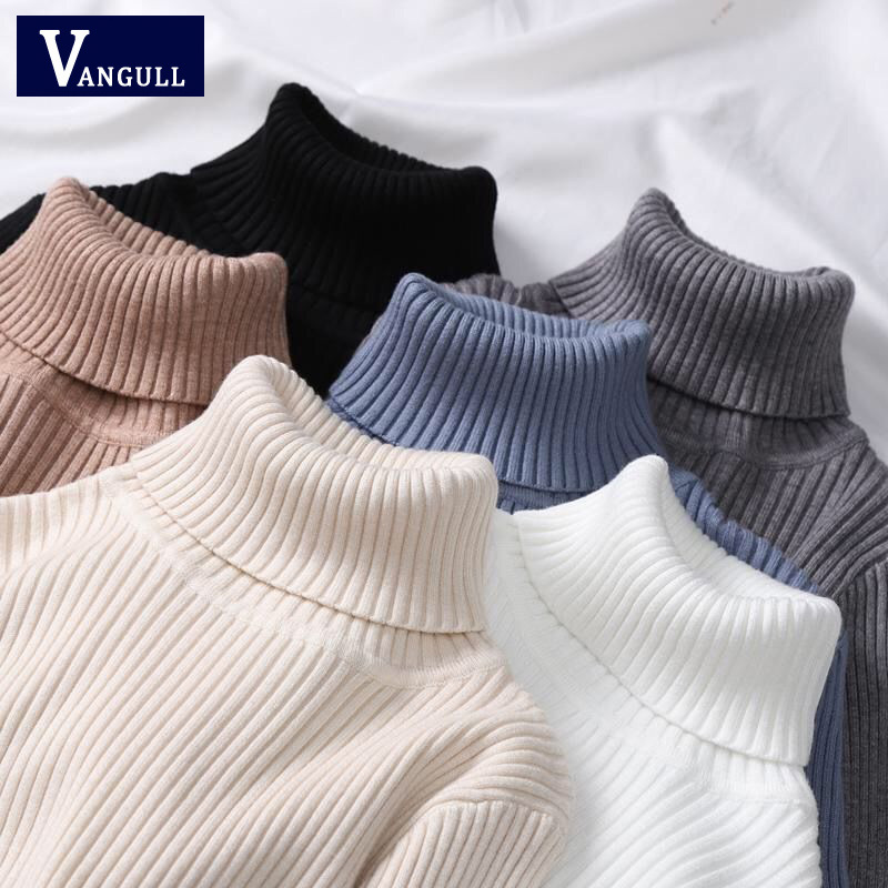 VANGULL High Quality Women Sweater Tricots Turtleneck Pullover Winter Tops Solid Cashmere Sweater Autumn Female Winter Sweater