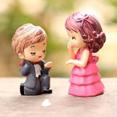 2 Pcslot Boy Girl Lovers Proposal Doll 6cm Fairy Garden Miniatures