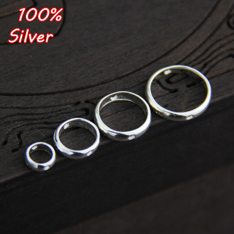 4pcs 925 Silver Jewelry Double Hole Spacer Beads Positioning Circle Jump Rings For Jewelry Making Bead Bracelets DIY Accessories