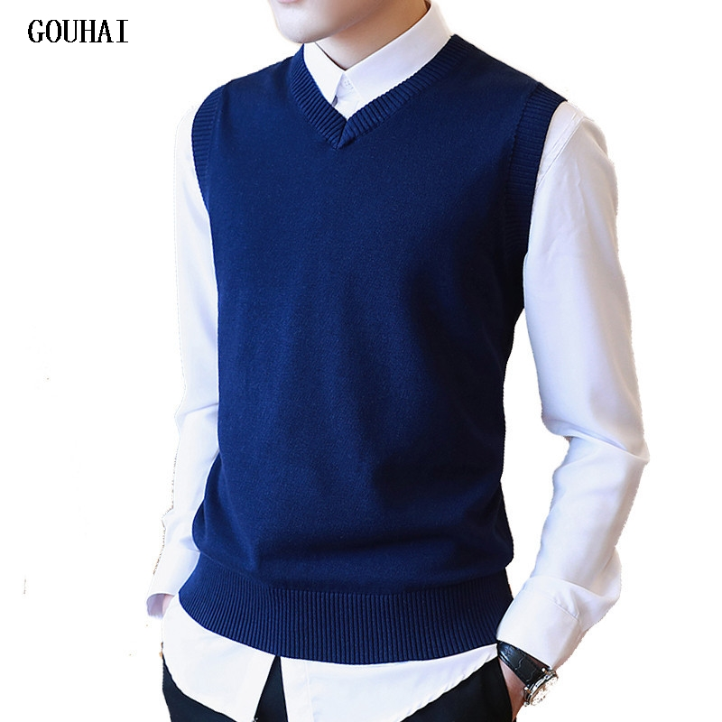 Sweater Men 100% Cotton Solid V Neck Casual Male Sweater Vest Men Pullover Knitted Sleeveless Men Sweater Christmas M-3XL