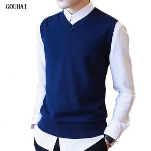 Male Sweater Men Pullover Knitted Sleeveless Vest Christmas-M-3xl V-Neck Casual Solid