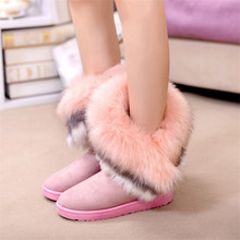 Free shipping Autumn and Winter snow boot Feathers artificial fox fur flat bottomed short cotton padded zapatos mujer EUR 36-40