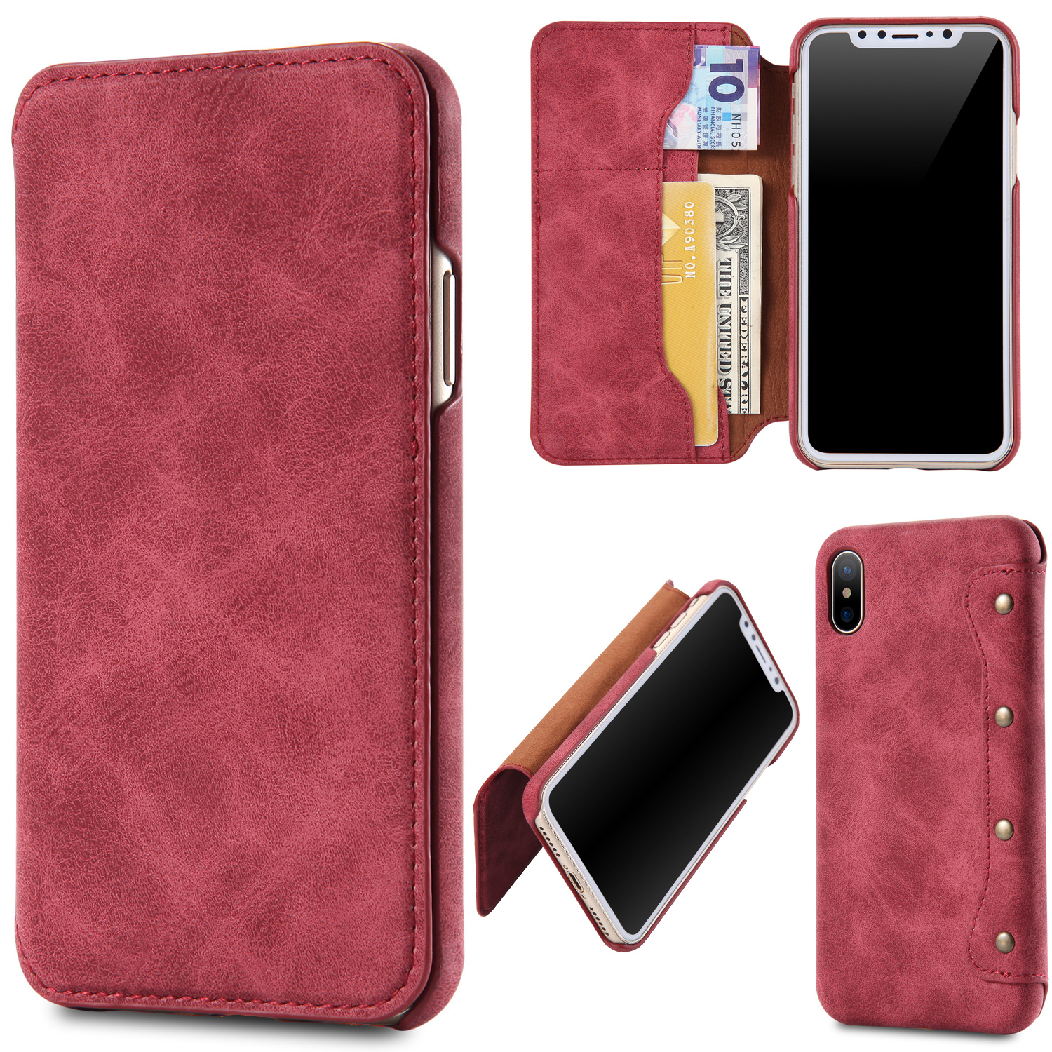 Luxury Leather Case For iPhone X 8 7 6 Plus Retro Flip Card Holder Wallet Case For iPhone Xs Max XR Book Cover Phone Shell CapaLuxury Leather Case For iPhone X 8 7 6 Plus Retro Flip Card Holder Wallet Case For iPhone Xs Max XR Book Cover Phone Shell Capa