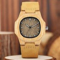 YISUYA Unique Wood Watch Irregular Face Handmade Lightweight Bamboo Quartz Wristwatch Men Genuine Leather Clock 2017