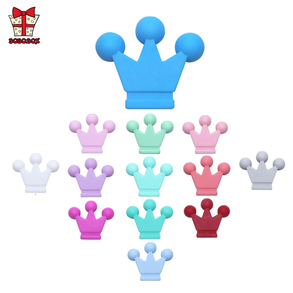 BOBO.BOX 50pcs Food Grade Crown Silicone Beads Teether Rodents Baby Teething Toy DIY Teethers Necklace Beads Nursing Accessories