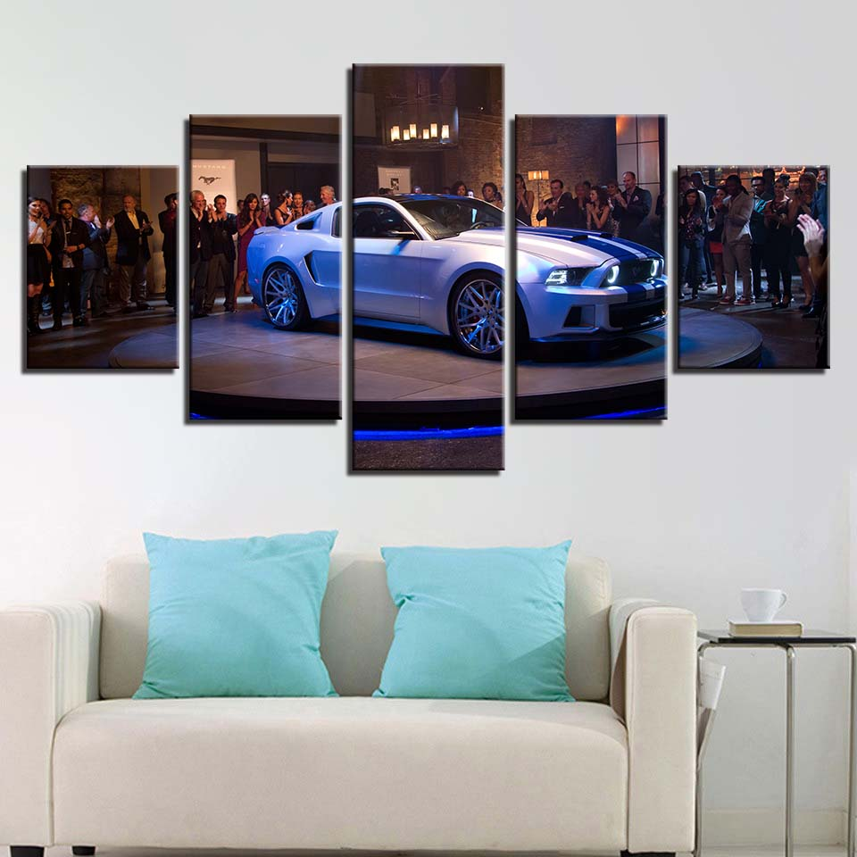 HD Wall Art Poster Modular Painting Printed Modern 5 Panel White Sports Car Canvas Living Room Pictures Home Decoration Frame