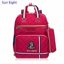 Sun Eight british plaid red bag school backpack for girls children school bags for teenagers pencil bag case book bag wholesale