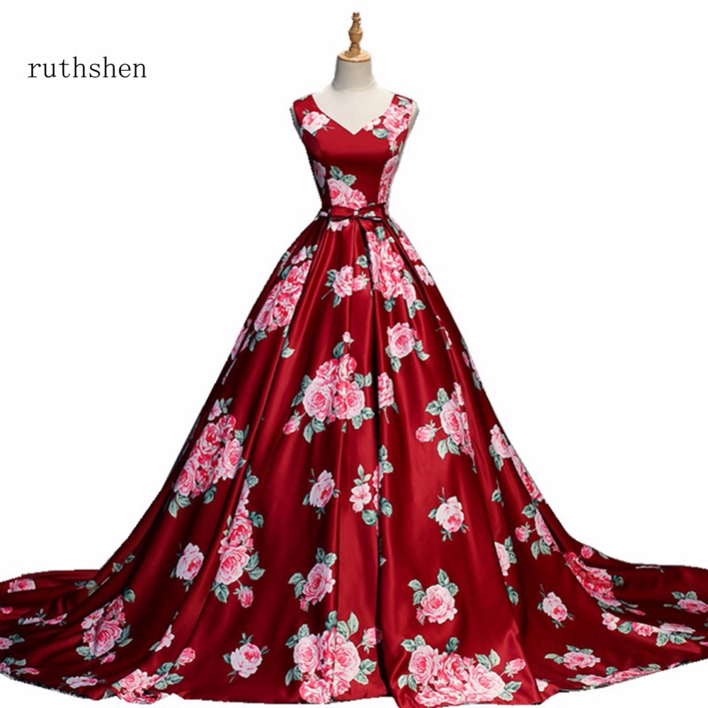 ruthshen Luxury V Neck   Prom     Dresses   2018 Sleeveless Long Floor Length Party Evening Gowns With Rose Pattern Vestido De Festa