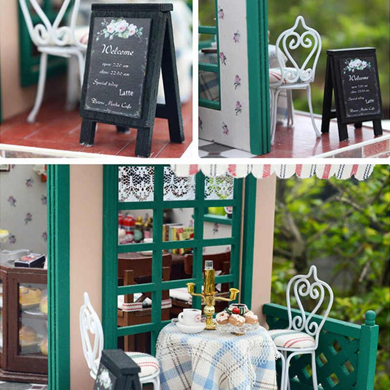 3D DIY Деревянный Кукольный дом сборка Миниатюрный Кукольный дом мебель наборы романтический кофе бар кукольные домики модель игрушки для детский подарок