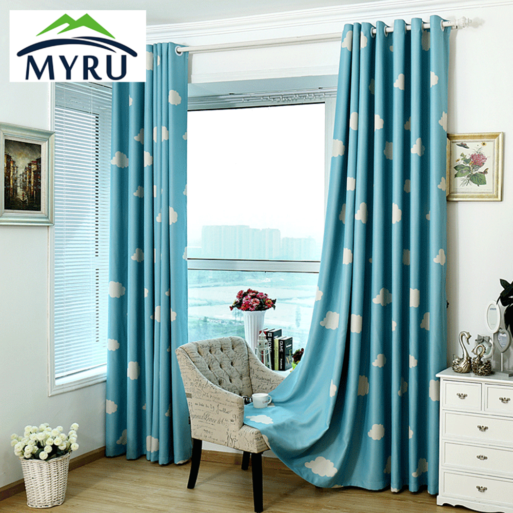 Myru High Quality Baby Curtains Childrens Cheap Blackout Curtains Blue And White Window Drapes
