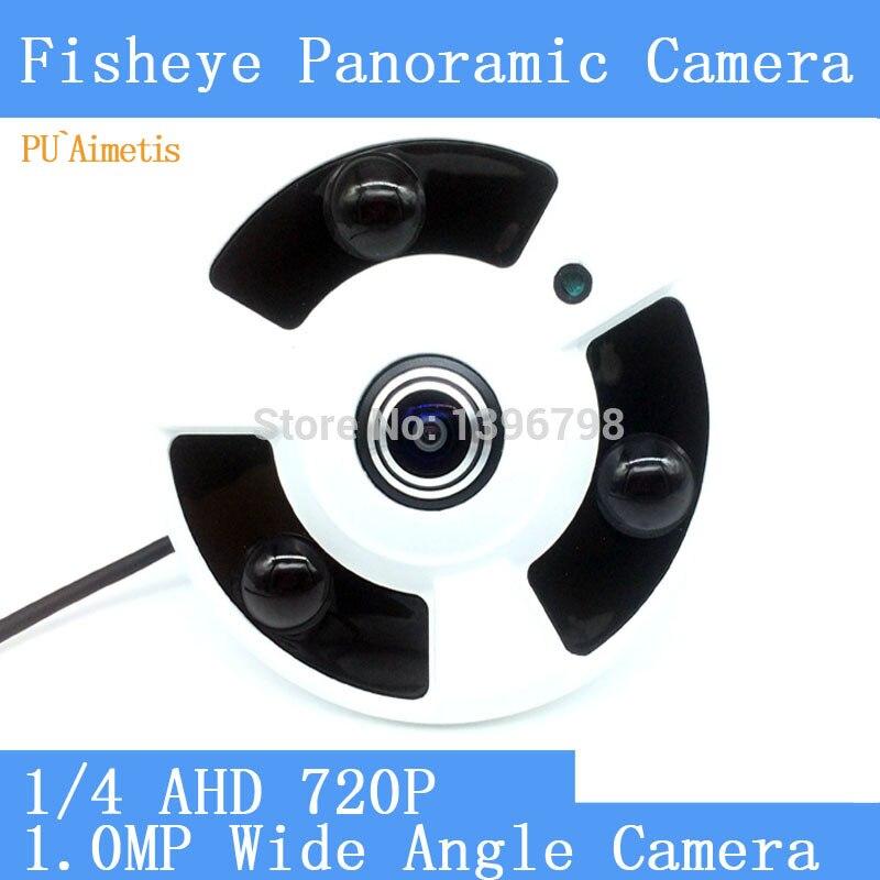 PU`Aimetis HD 1.0MP 720P 360 Degree Wide Angle Fisheye Panoramic Camera AHD Infrared Surveillance Camera Security Dome Camera