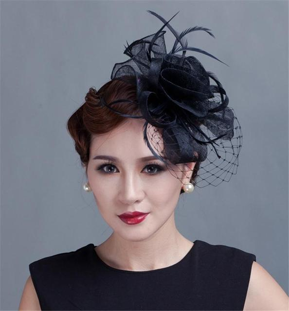 49728d1ef3c Brand New Sinamay Hat Fascinator Feather Flower Hair Clip Wedding Hats And Fascinators  Bridal Hair Accessories Chapeu Casamento