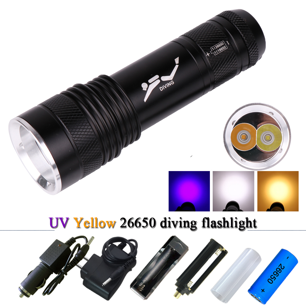 UV Diving Flashlight CREE XM-L2 18650 or 26500 LED Underwater Flashlights Waterproof Portable Lantern Light Lamp Dive Torch LED scuba dive light