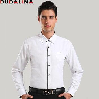 7ed20630c5ed842 Dudalina Camisa мужской Рубашки для мальчиков с длинным рукавом Для мужчин  рубашка брендовая одежда Повседневное Slim ...