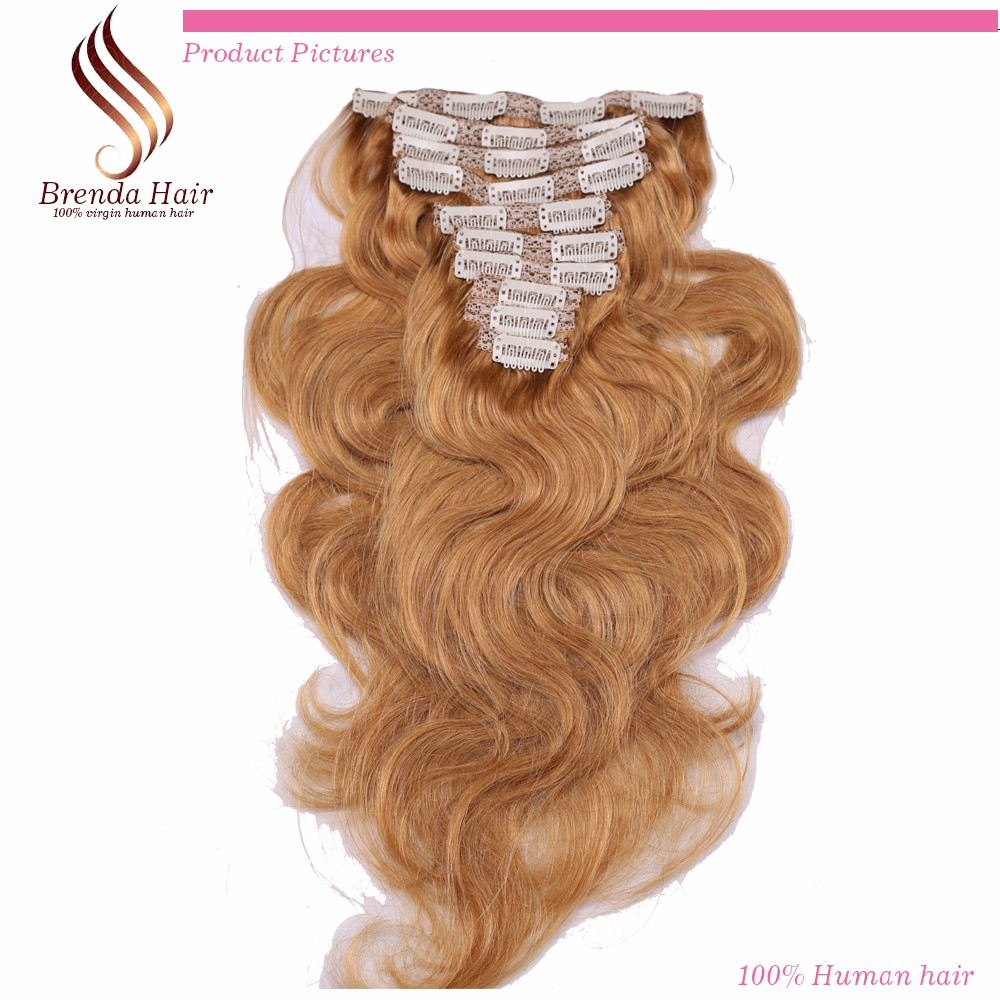 Clip in human hair extensions golden blonde #27 clip in hair extensions for black women Brazilian virgin human hair Clip-Ins 7PC (5)