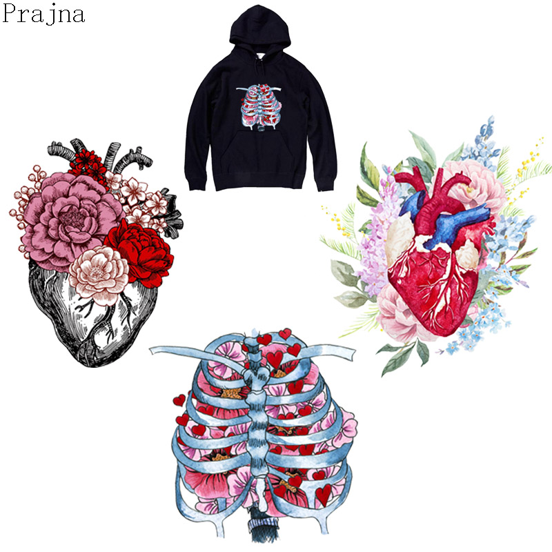 Prajna Skeleton Heart Heat Transfer Vinyl Patch Iron On Transfers For Clothes Jacket Thermal PVC Applique Badge Washable Sticker
