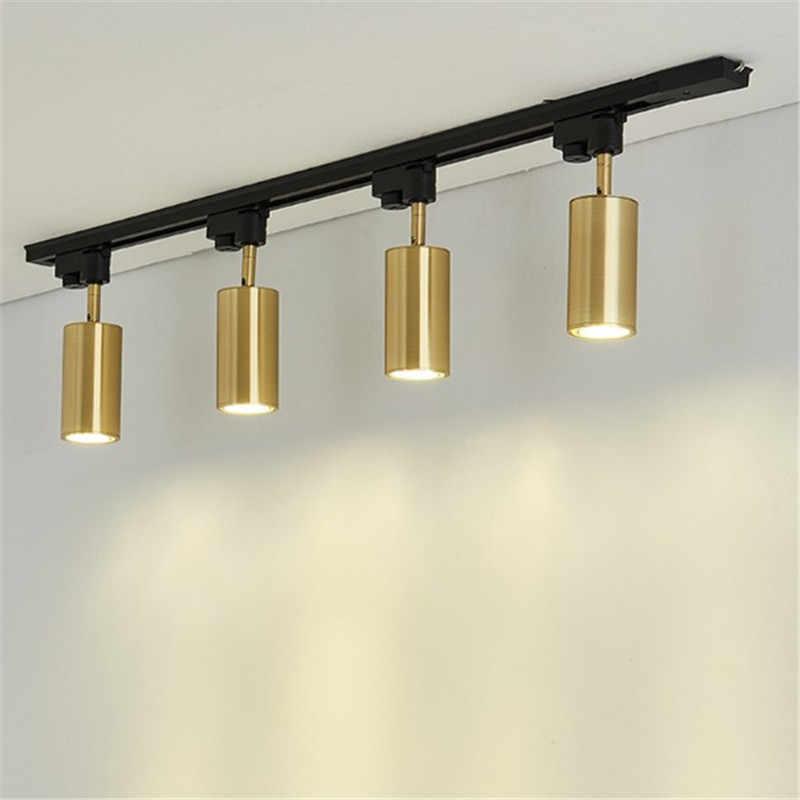 Роскошные медные дорожные прожекторы из латуни, светодиодные потолочные лампы для гостиной, настенные проходы, бар Gu10, следящее световое устройство, комплект Золотая лампа