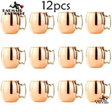 12 Pieces 550ml Perfect Smooth Moscow Mule Mug Drum- Copper Plated Beer Cup Coffee Stainless Steel-Copper