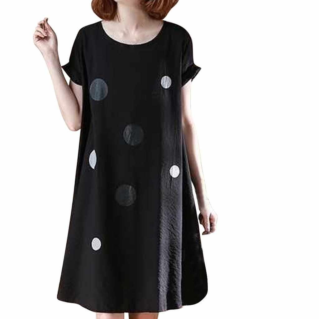 Fashion Women's Loose O-Neck Wave Point Print Black Short Sleeve Knee Length Dress Summer Clothing Female Girl's Shirts Dresses