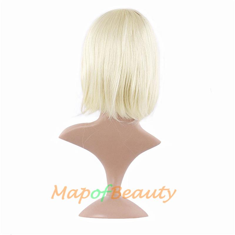 """mapofbeauty короткие блондинка парик боб 30 см 12 """"синтетический косплэй парики прямые волосы жаропрочных для для женщин с челкой плутон"""