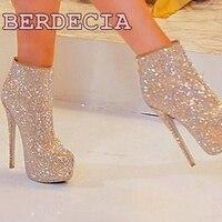 Bling Bling Elegant Round Toe Ankle Boots Stiletto Heel Ladies Shoes Unique Design Platform Short Boots