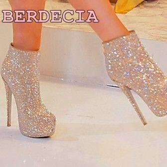 bling bling elegant round toe ankle boots stiletto heel ladies shoes unique design platform short boots Sequins thin heel boots