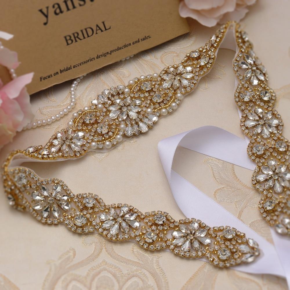 yanstar Rhinestones Wedding Bridal Belt Gold Crystal Wedding Dress Sash Pearls Bridal Sash For Wedding Accessories  XY834